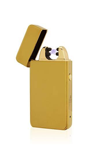 TESLA Lighter TESLA Lighter T11 Lichtbogen Feuerzeug, Plasma Double-Arc, elektronisch wiederaufladbar, aufladbar mit Strom per USB, ohne Gas und Benzin, mit Ladekabel, in edler Geschenkverpackung Gold Gold