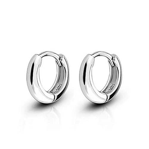 Pendientes de aro pequeños y anchos con círculos de astilla de plata de ley 925 para mujeres, niñas, hombres, joyería, antialérgico