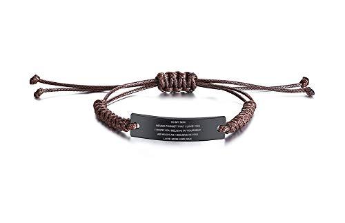 PJ JEWELLERY Edelstahl handgemachte braune verstellbare Schnur inspirierende Mut Zitat zu Meinem Sohn Armbänder zu Jungen, Geburtstag Abschlussgeschenk Liebe von Mama Papa