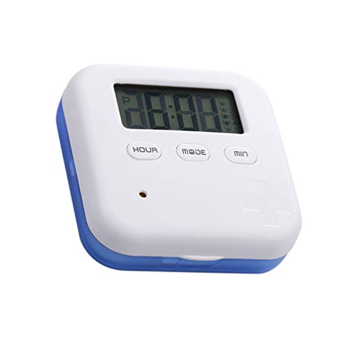 Cabilock mini dispensador electrónico de pastilleros Temporizador de 4 compartimentos con pantalla de fecha de alarma Recordatorio de contenedor de caja de píldora inteligente (azul)