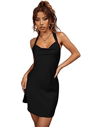 SheIn Vestido corto para mujer con espalda descubierta, para fiestas, de satén, elegante Negro XL