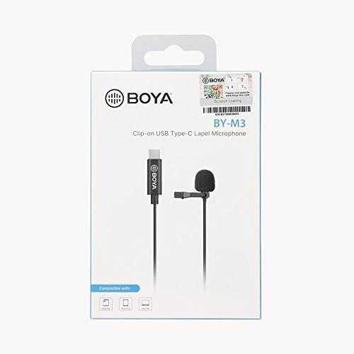 BOYA BY-M3 Phone Digital Lavalier Microphone for iPad Pro Mac PC HUAWEI OPPO VIVO Xiaomi Redmi 8 Android Type-C Smartphone Vlog