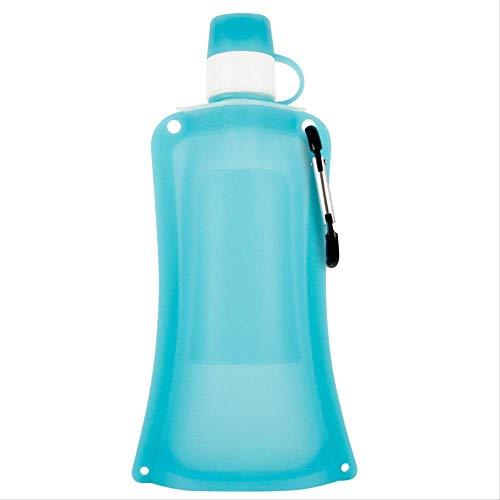 KYSM Botella de Agua Deportiva Plegable de Silicona para Viajes al Aire Libre Hervidor de Agua portátil Telescópico de Fitness Copa 500ml Cristal Azul Claro