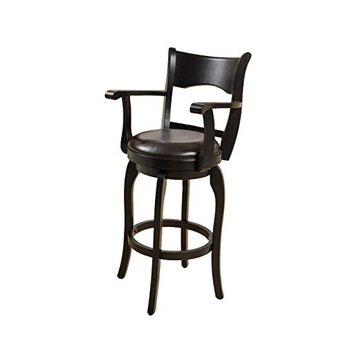 """Christopher Knight Home Kolton Leather Swivel Counter Stool with Arm, 24"""", Espresso"""