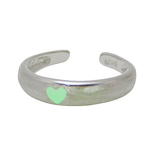 [モノジー] MONOZY 夜光 指輪 - ルミナス リング - シルバー 収納袋 セット 光る 指輪 ファッション リング 蓄光 アクセサリー (D:グリーンハート(1個))