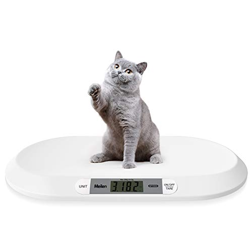 Dongmei Pet Scale,Multi-Function Baby Scale with 3 Weighing Modes 20kg Capacity for Toddler Health Infant Scale ABS Safety Material White