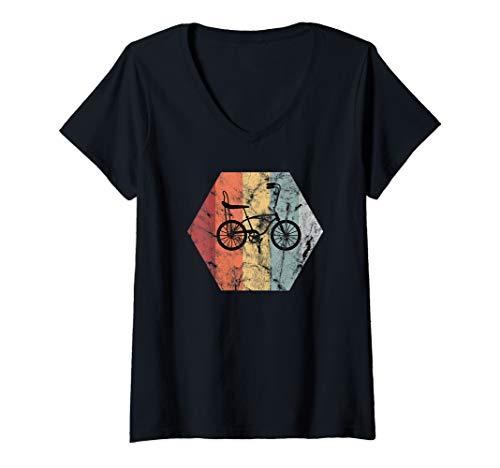 Damen Bonanza Fahrrad   Retro Vintage Bonanzarad Geschenk T-Shirt mit V-Ausschnitt