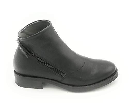 Lilimill 6856T Stiefelette aus Leder, Schwarz, Doppelreißverschluss 0-1, Schuhgröße 41 EU Farbe Schwarz