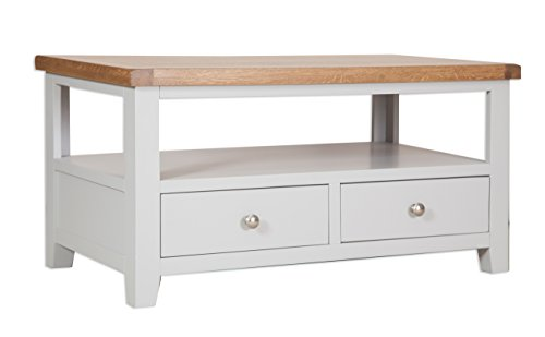 Classically Modern Dorset French Grey Painted Oak & Pine 2 Drawer Tv Coffee Table Unit Living Room Furniture