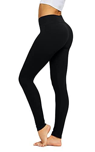 Black Leggings for Women - Yoga Pants - Premium Ultra Soft - Full Length Midnight Black - One Size - Plus