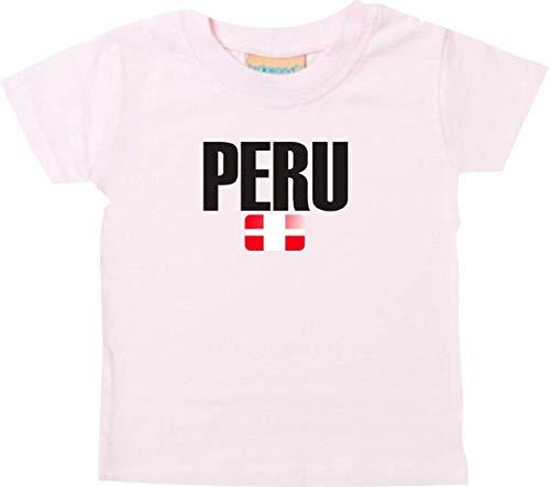 Shirtstown Bebé Niños Camiseta Fútbol Camiseta de País Peru - Rosa, 12-18Monate