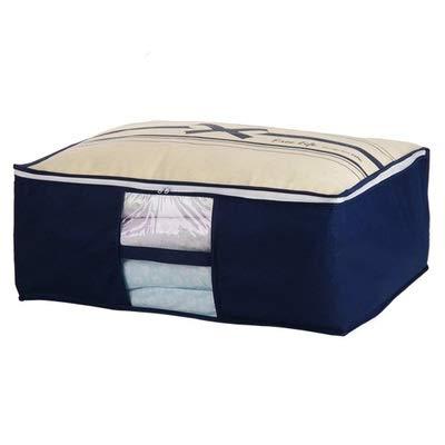 JIEIIFAFH Hohe Qualität Non-Woven-Familie platzsparende Aufbewahrungsbehälter unter dem Bett Kleiderschrank Veranstalter Teiler Steppdecken-Taschen Halter Management (Color : Blue, Size : S)