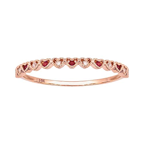 10k Rose Gold Genuine Ruby and Diamond Petite Heart Stackable Band