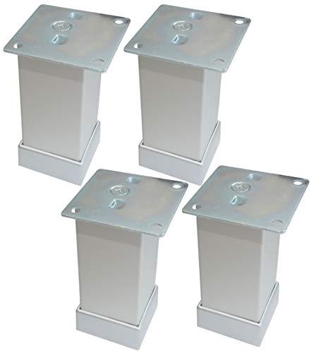 Aerzetix 4 x meubelpoten van metaal, verstelbaar, 40/40 mm, H100 mm, kleur zilver mat met montageplaat C42444