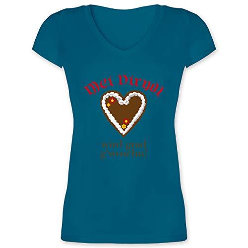 Oktoberfest & Wiesn Damen - Dirndl Wird g\'woschn - Shirt statt Dirndl - M - Türkis - Dirndl Tshirt - XO1525 - Damen T-Shirt mit V-Ausschnitt