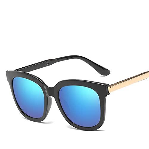 QSLS 1 pc Gafas de Sol cuadradas Mujeres Vintage Retro Sombras Gafas de Sol para Mujeres Dama Hembra Espejo de Gafas de Sol UV400 (Lenses Color : Blue)