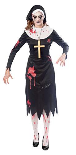 Amscan 9902703 - Kostüm Zombie Nonne, Kleid, Kopftuch, Kreuzkette, Mottoparty, Karneval, Halloween