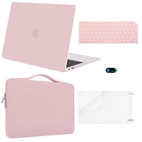 MOSISO Funda Dura Compatible con 2019 2018 MacBook Air 13 A1932 Retina, Plástico Carcasa Rígida & Funda Protectora & Protector de Pantalla & Piel de Teclado & Cubierta de Webcam, Cuarzo Rosa