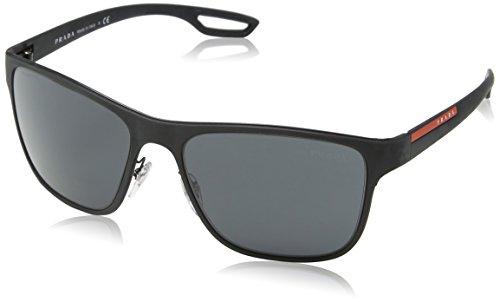 Prada LINEA ROSSA Lj Silver Gafas de sol, Black Rubber, 56 para Hombre