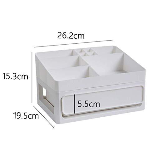 BOX Plastique Bureau Cosmétique Boîte de Rangement Type de Tiroir Rouge À Lèvres Bijoux Soins de La Peau Produits de Stockage D'Affichage Boîte (Taille: 26,2 × 19,5 × 15,3 Cm),Blanc,26,2 * 19,5 * 15,