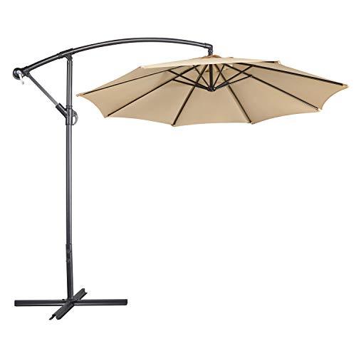 Yaheetech 2.9M/2.6M Large Cantilever Parasol Garden Banana Umbrella Patio Offset Umbrella with Tilt & Crank Handle & Cross Base