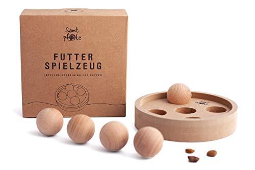 Samtpfote® Futterspielzeug aus Holz - Premium Qualität - interaktives Intelligenzspielzeug für Katzen - natürliches & nachhaltiges Katzenspielzeug