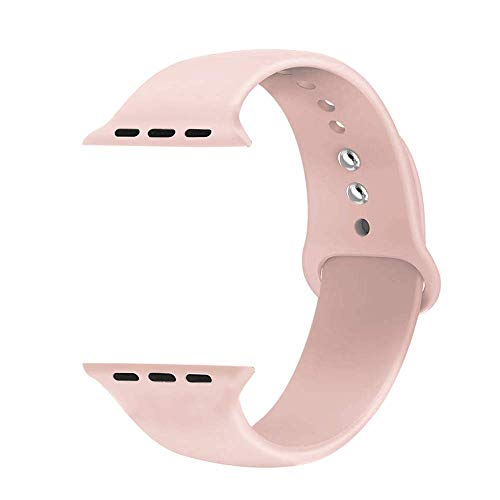 ONTUBE Sport Bands Compatible with Apple Watch,Soft Silicone Strap Compatible for iWatch Series 5/4/3/2/1 (Watch Not Included) 42MM/44MM, Pink Sand