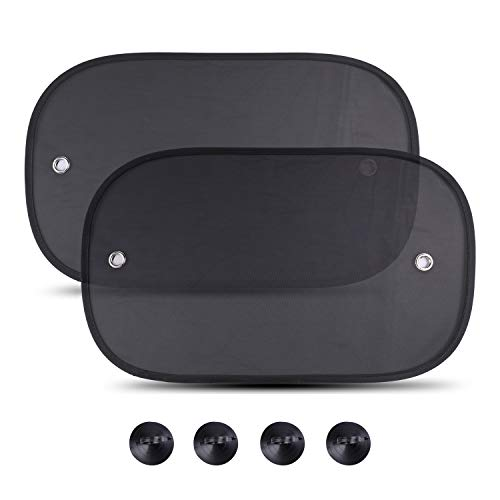 PowerTiger Sonnenschutz Auto Baby mit UV Schutz, Seitenscheiben Sonnenschutz mit Saugnapf, 50 * 30 cm, Geeignet für Autos und SUVs, 2 Stück