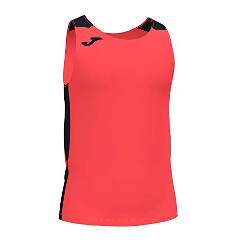 Joma Camiseta Tirantes Record II Coral flúor Negro