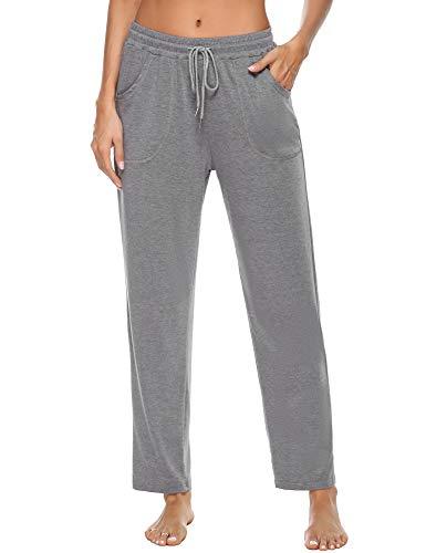 iClosam Pantalón Chándal Mujer Algodón Pantalones Deportivos para Mujer Largo Ropa Deportiva Mujer Casual Yoga Jogger (XL, Gris)