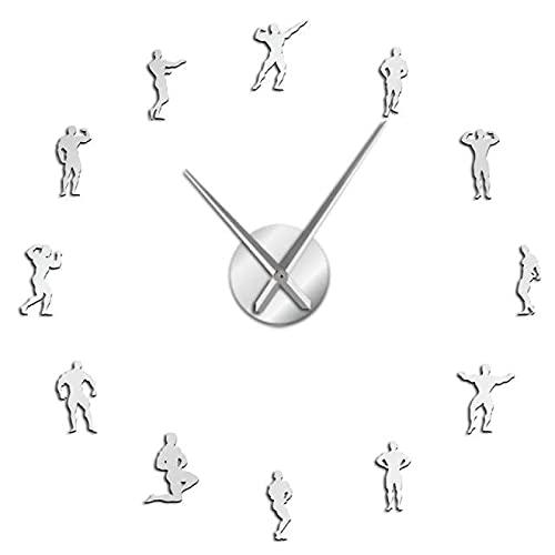 xinxin Reloj de Pared para Culturismo, Gran Reloj de Pared DIY, Entrenamiento de motivación, Deportes, Fitness, Gimnasio, Colgante de Pared Decorativo, Reloj Grande, Regalo para culturistas