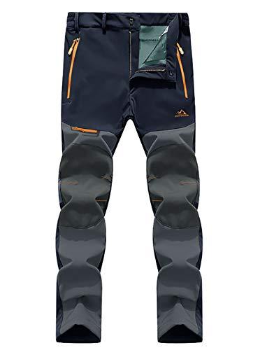 EKLENTSON Hiking Trousers Men Waterproof Fleece Lined Soft Shell Winter Pants Outdoor Windproof Hiking Climbing Ski Trousers Navy