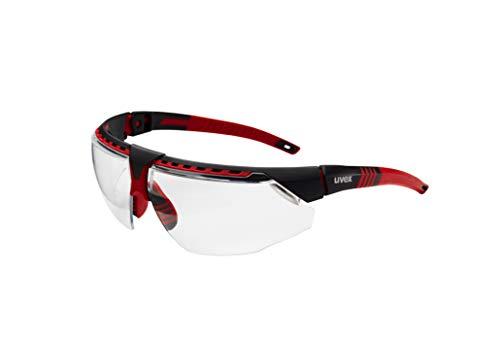 Uvex by Honeywell Avatar S2860 - Gafas de seguridad, marco rojo con lente transparente y revestimiento duro antiarañazos