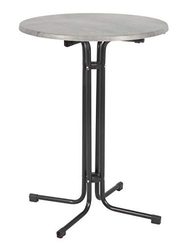 Acamp Stehtisch Bistrotisch klappbar Piazza rund | Anthrazit/Cemento Grigio | Ø80xH110cm | Gestell aus Stahlrohr | wetterfeste Holzfaserplatte Topalit | Niveauausgleich