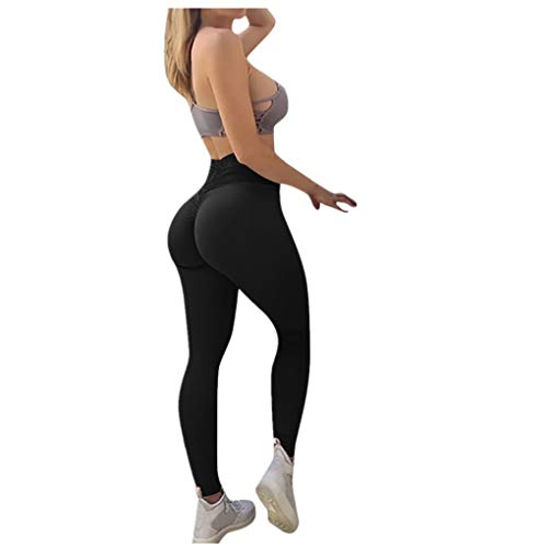Dorical Damen Hohe Taille Mode Workout Leggings Fitness Sport Gym Jogging Yoga Sporthose (Schwarz, Medium)