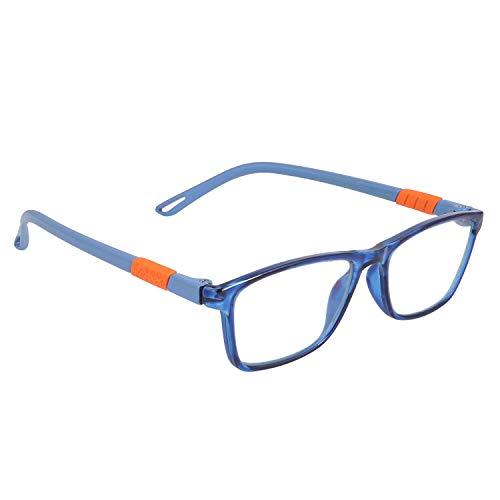 Optify® Rectangle Blue Light Blocking Glasses for Kid UV Protection Computer Eyewear Zero Power Lens Age 5-12 Years(Blue)