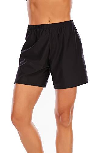 VILOREE Damen Badeshorts mit Waistband Frerzeit Wassersport Bikinihose Tankinihose UV Schutz Schnell Trocknendes Schwarz 4XL