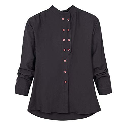 Briskorry blusen damen Beiläufig Große Größe Einfarbig Lose Leinen Taste Tunika Hemd Bluse Tops blusen damen elegant
