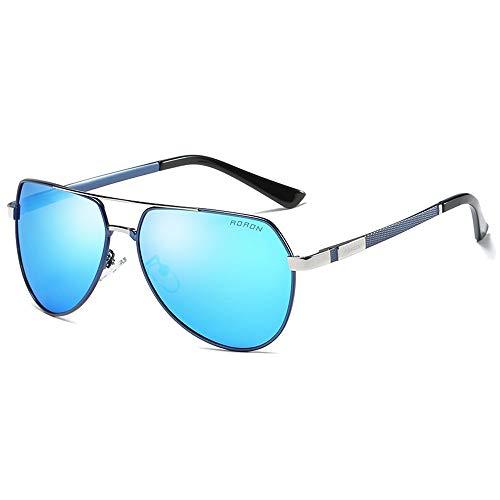 Hancoc Gafas de sol polarizadas para hombre, de moda, de metal, color azul, negro y azul