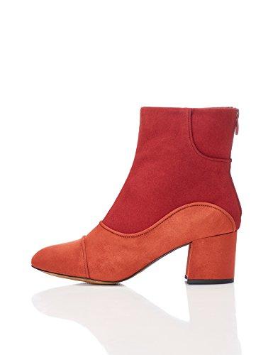 find. Damen Stiefel in 60er-Jahre Wildleder-Optik mit Reißverschluss, Mehrfarbig (Rust/Red), 39 EU