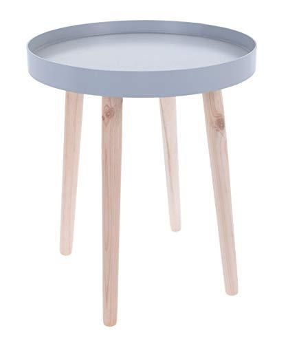 Houten bijzettafel 44x39 cm - blauw, grijs of wit - houten tafel rond koffietafel met 4 poten 44x39 cm blauw