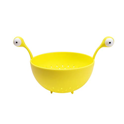 YUY Cesta De Drenaje para El Hogar Colador Cesta De Monstruo Ojos Grandes Cesta De Frutas Y Verduras Utensilios De Espagueti Cesta Lavadora De Arroz Utensilios De Cocina,Yellow