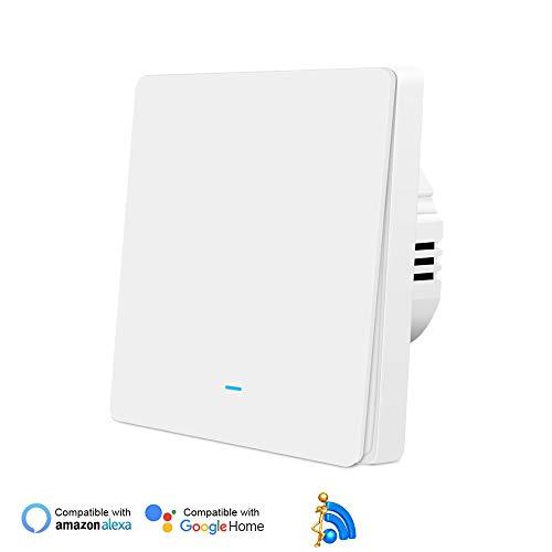 Smart Lichtschalter, WiFi Smart Physical-Button-Schalter, Jinvoo-Wandschalter, Kompatibel mit Alexa/Google Home, Unterstützung Tuya APP Fernbedienung, Timing-Funktion, kein Hub erforderlich(1 Gang)
