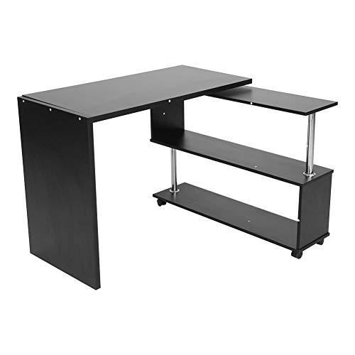 Wakects Scrivania a Forma di L, Scrivania per Computer Tavolo da Ufficio Angolare Scaffale Laptop Desk da Studio, Girevole a 360 °, Bianco/Nero(Nero)