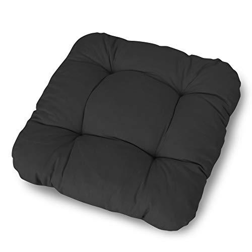 LILENO HOME 2er Set Stuhlkissen Schwarz (38x38x8 cm) - Sitzkissen für Gartenstuhl, Küche oder Esszimmerstuhl - Bequeme UV-beständige Indoor u. Outdoor Stuhlauflage als Stuhl Kissen