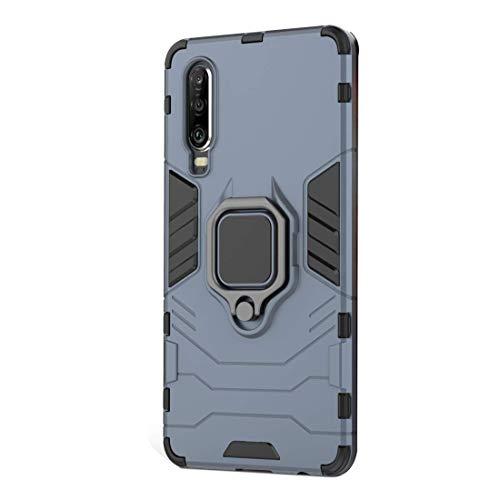 Funda Huawei P30 Carcasa, Borde de Silicona Negro Duro PC Case Anti-Arañazos, Anti-Golpes, con Anillo Grip Kickstand para Huawei P30 Pro / P30 Lite (Huawei P30, Azul)