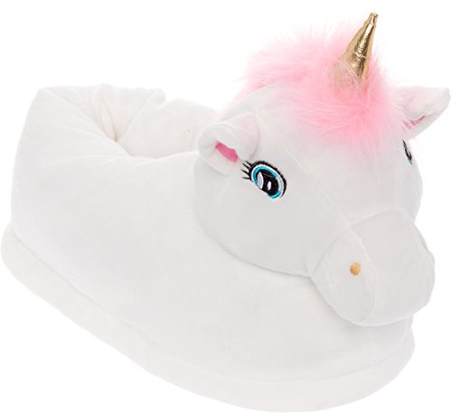 Silver Lilly Light Up LED Unicorn Slippers - Plush Novelty Animal Slippers (White, Medium)