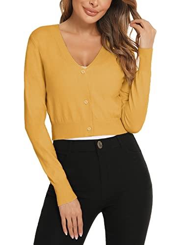 Enjyam Damskie bolerko z długim rękawem, krótka kurtka dzianinowa z guzikiem, elegancka, miękka kurtka z dekoltem w kształcie litery V, kurtka na ramię do sukienki, żółty, S