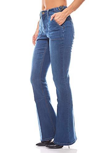 Arizona Schlichte Hose Bootcut Stretchjeans Jeans mit aufgesetzten Taschen Blau, Größenauswahl:38