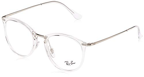 Ray-Ban RX7140 Square Prescription Eyeglass Frames, Transparent/Demo Lens, 49 mm